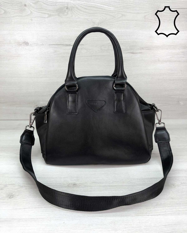 """Кожаная стильная женская сумка """"Elis"""" черного цвета"""