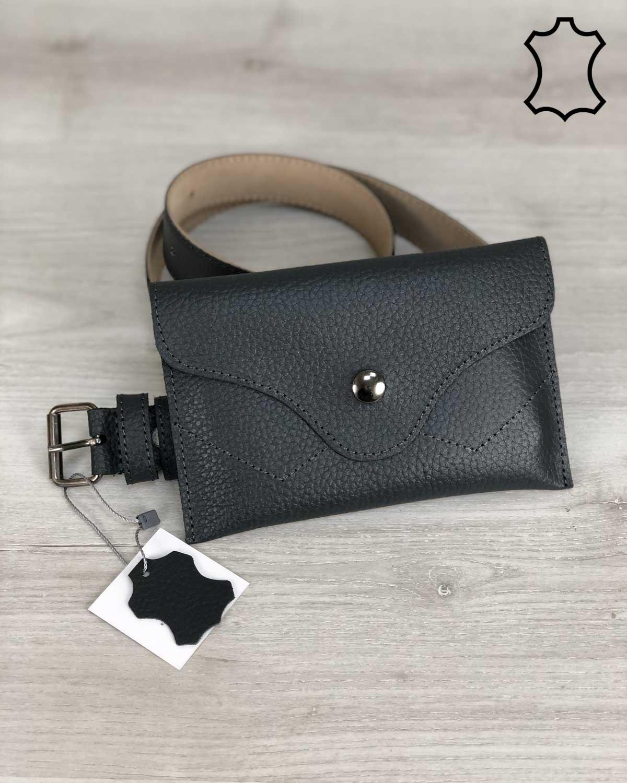 Кожаная женская сумка на пояс Pauli серого цвета