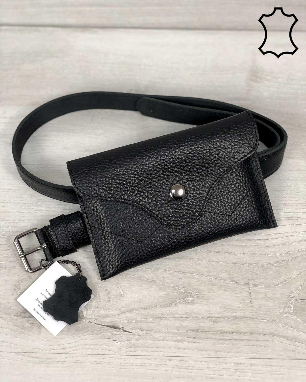 Кожаная женская сумка на пояс «Pauli» черного цвета